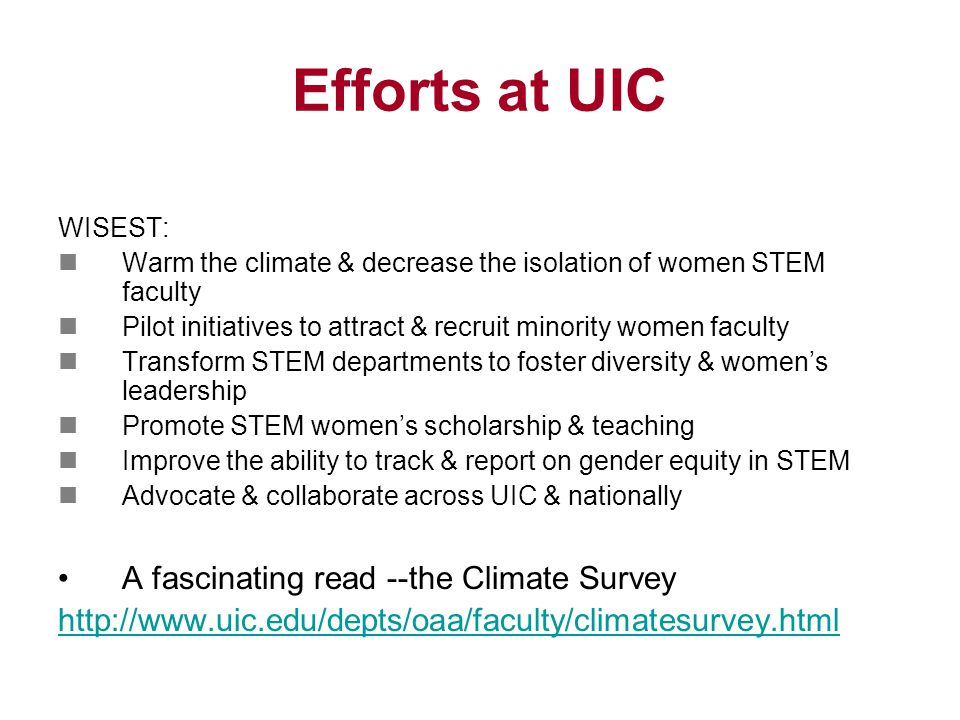 Efforts at UIC WISEST: Warm the climate & decrease the isolation of women STEM faculty Pilot initiatives to attract & recruit minority women faculty Transform STEM departments to foster diversity & women's leadership Promote STEM women's scholarship & teaching Improve the ability to track & report on gender equity in STEM Advocate & collaborate across UIC & nationally A fascinating read --the Climate Survey http://www.uic.edu/depts/oaa/faculty/climatesurvey.html