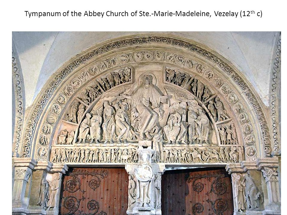 Tympanum of the Abbey Church of Ste.-Marie-Madeleine, Vezelay (12 th c)