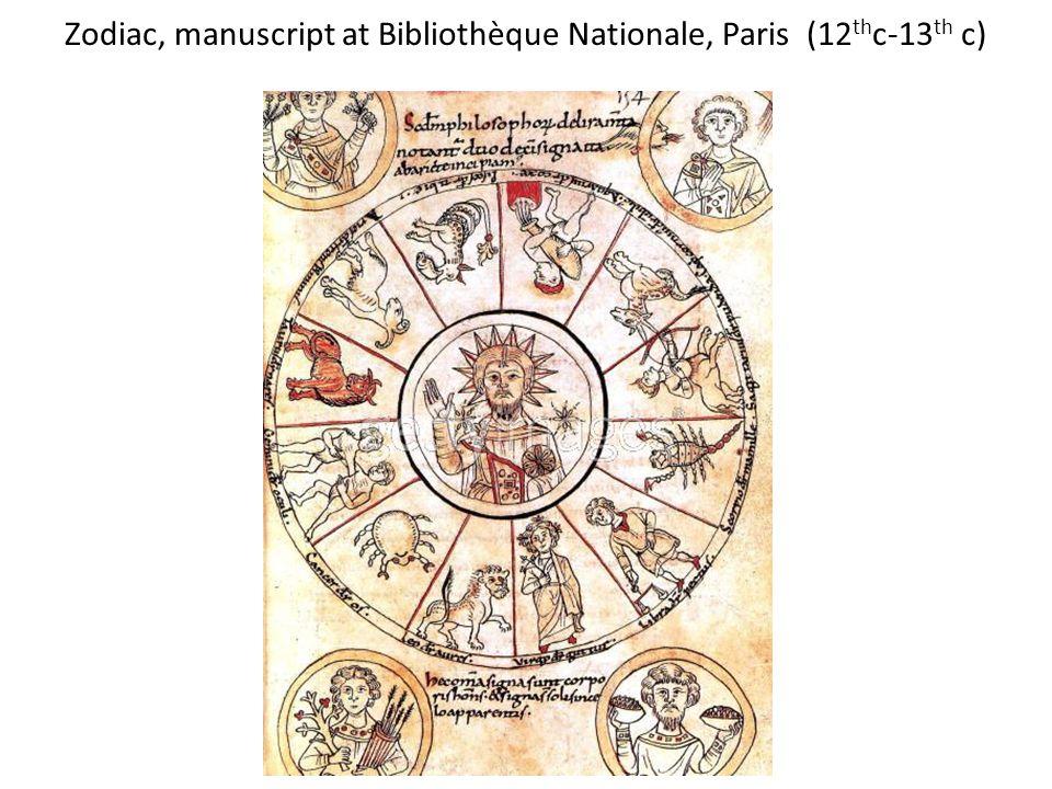 Zodiac, manuscript at Bibliothèque Nationale, Paris (12 th c-13 th c)
