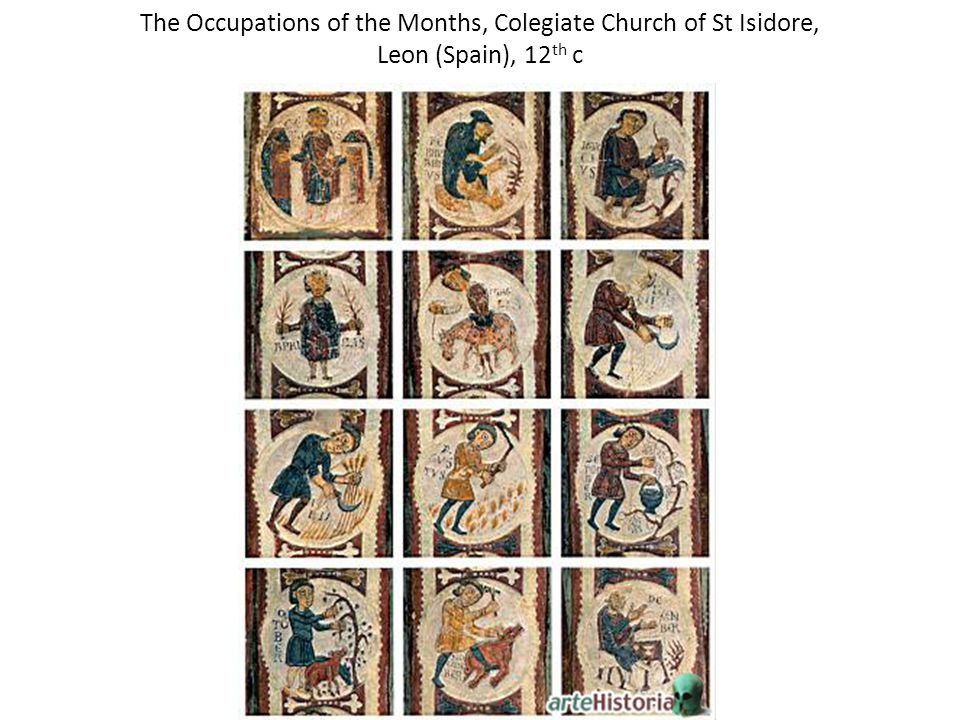 The Occupations of the Months, Colegiate Church of St Isidore, Leon (Spain), 12 th c