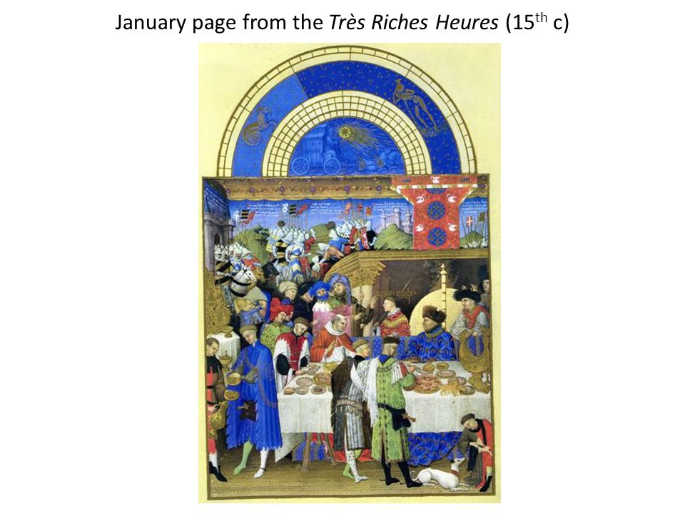 January page from the Très Riches Heures (15 th c)