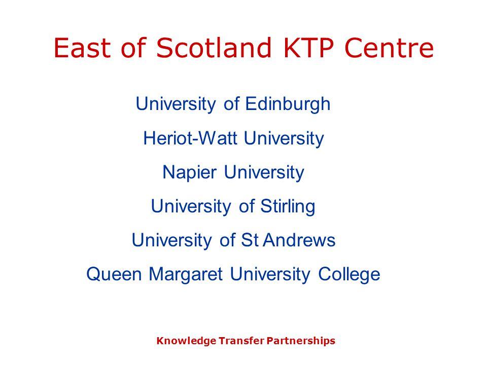 Knowledge Transfer Partnerships East of Scotland KTP Centre University of Edinburgh Heriot-Watt University Napier University University of Stirling Un