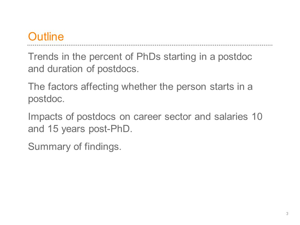 Outline Trends in the percent of PhDs starting in a postdoc and duration of postdocs.