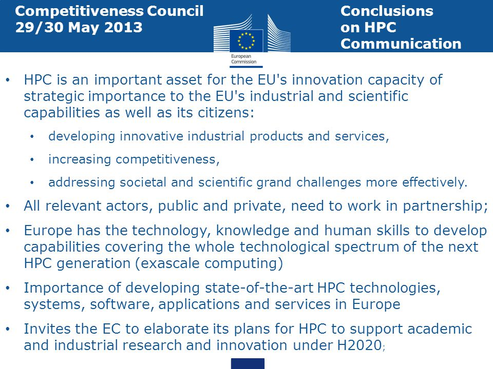 European Technology Platform for HPC An industry-led forum founded by stakeholders of HPC technology Through the Strategic Research Agenda, the ETP4HPC has identified research areas and topics to reach a stronger European HPC environment that can benefit Europe and the rest of the world.