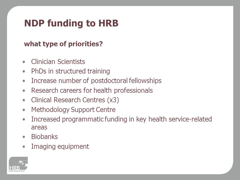 NDP funding to HRB what type of priorities.