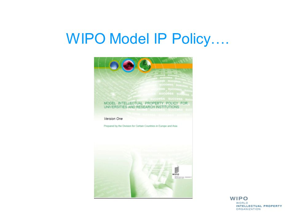 WIPO Model IP Policy….