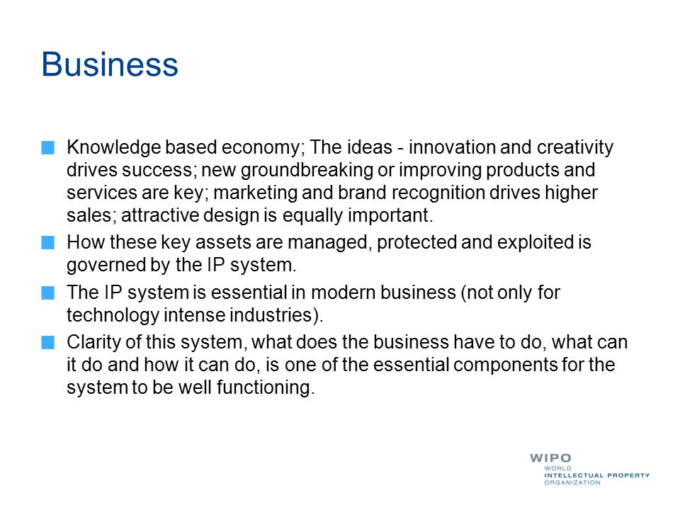 Business Knowledge based economy; The ideas - innovation and creativity drives success; new groundbreaking or improving products and services are key;