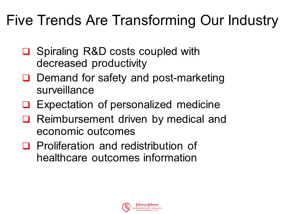  Spiraling R&D costs coupled with decreased productivity  Demand for safety and post-marketing surveillance  Expectation of personalized medicine  Reimbursement driven by medical and economic outcomes  Proliferation and redistribution of healthcare outcomes information Five Trends Are Transforming Our Industry
