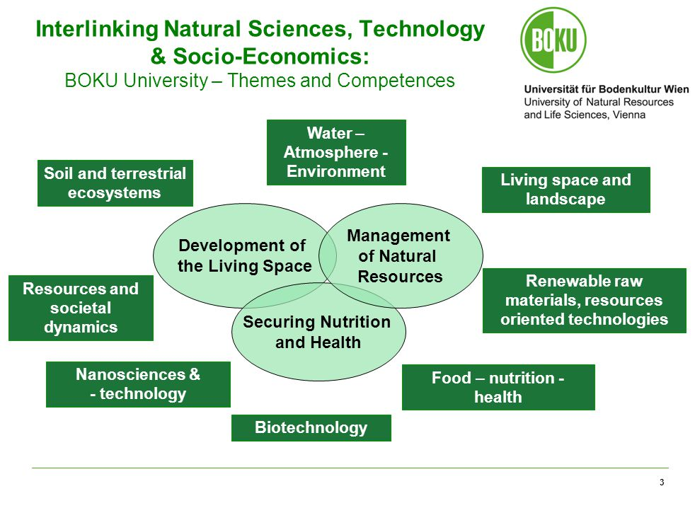 3 Interlinking Natural Sciences, Technology & Socio-Economics: BOKU University – Themes and Competences Development of the Living Space Securing Nutrition and Health Management of Natural Resources Soil and terrestrial ecosystems Nanosciences & - technology Biotechnology Food – nutrition - health Renewable raw materials, resources oriented technologies Living space and landscape Water – Atmosphere - Environment Resources and societal dynamics