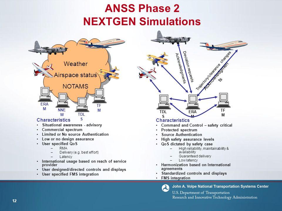 ANSS Phase 2 NEXTGEN Simulations 12 Trajectory/clearance changes Acknowledgmen ts TDL S NNE W ERA M Characteristics Situational awareness - advisory C