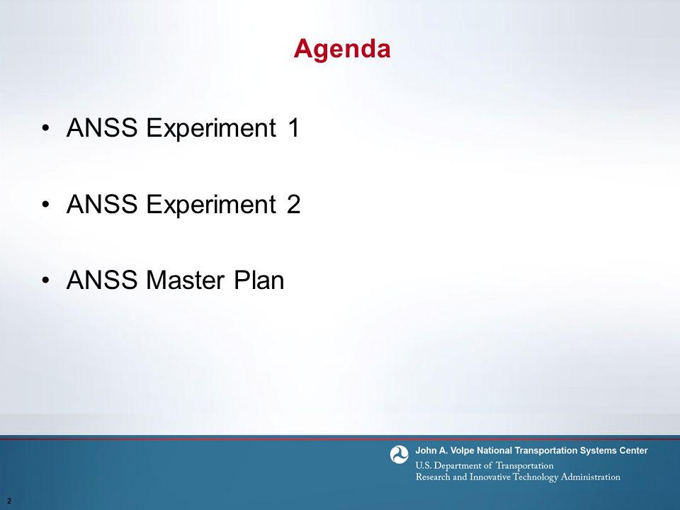 Agenda ANSS Experiment 1 ANSS Experiment 2 ANSS Master Plan 2