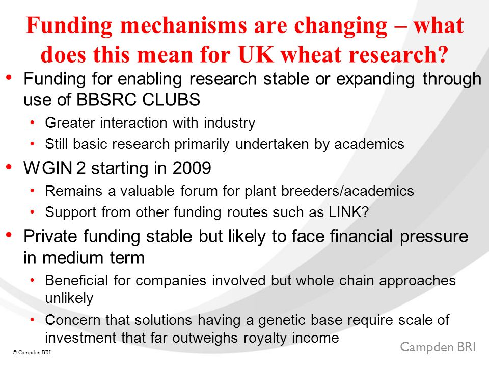 Campden BRI © Campden BRI Funding mechanisms are changing – what does this mean for UK wheat research.