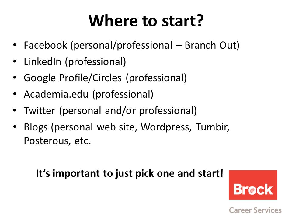 Facebook (personal/professional – Branch Out) LinkedIn (professional) Google Profile/Circles (professional) Academia.edu (professional) Twitter (personal and/or professional) Blogs (personal web site, Wordpress, Tumbir, Posterous, etc.