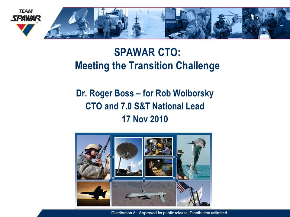 SPAWAR CTO: Meeting the Transition Challenge Dr.