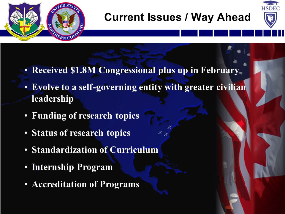 Received $1.8M Congressional plus up in February Evolve to a self-governing entity with greater civilian leadership Funding of research topics Status of research topics Standardization of Curriculum Internship Program Accreditation of Programs Current Issues / Way Ahead
