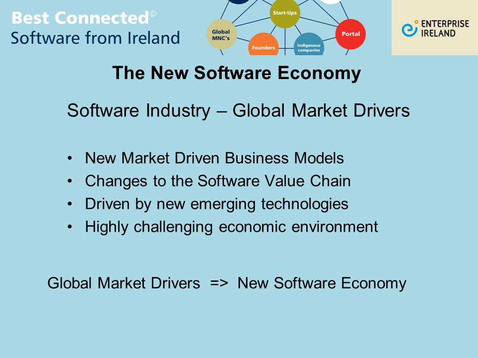 The New Software Economy Software Industry – Global Market Drivers New Market Driven Business Models Changes to the Software Value Chain Driven by new emerging technologies Highly challenging economic environment Global Market Drivers => New Software Economy