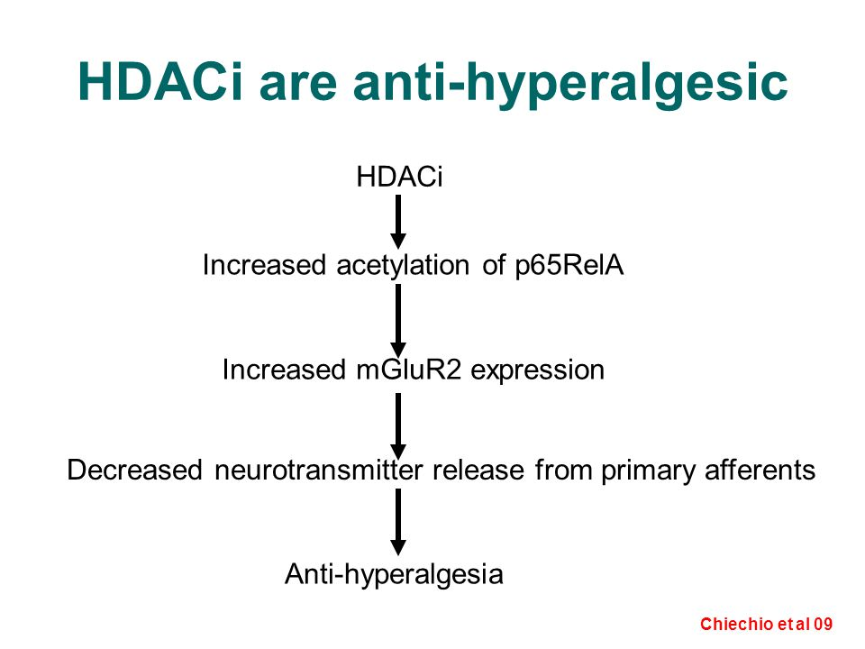 HDACi are anti-hyperalgesic HDACi Increased acetylation of p65RelA Increased mGluR2 expression Decreased neurotransmitter release from primary afferents Anti-hyperalgesia Chiechio et al 09