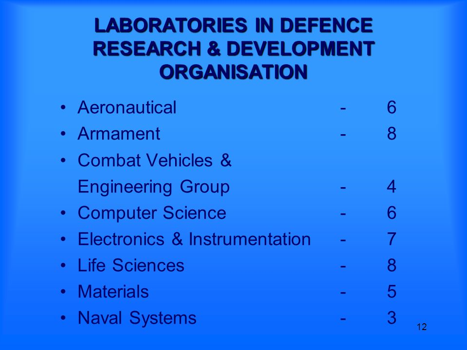 12 LABORATORIES IN DEFENCE RESEARCH & DEVELOPMENT ORGANISATION Aeronautical-6 Armament -8 Combat Vehicles & Engineering Group -4 Computer Science-6 Electronics & Instrumentation-7 Life Sciences-8 Materials-5 Naval Systems-3