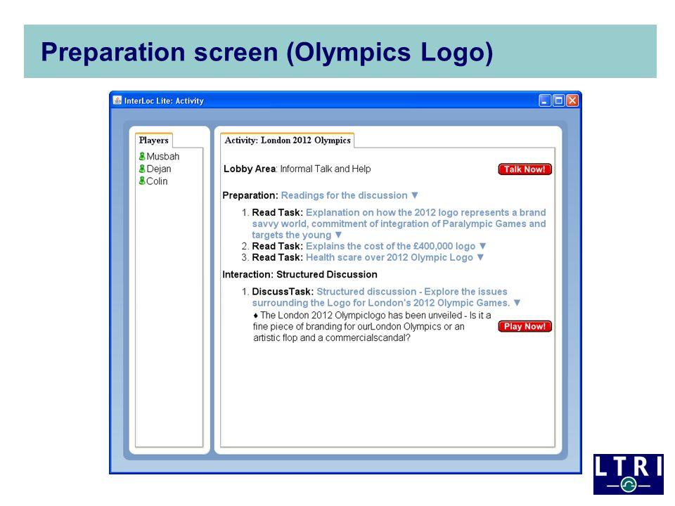 Preparation screen (Olympics Logo)