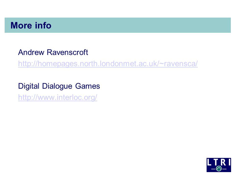 More info Andrew Ravenscroft http://homepages.north.londonmet.ac.uk/~ravensca/ Digital Dialogue Games http://www.interloc.org/