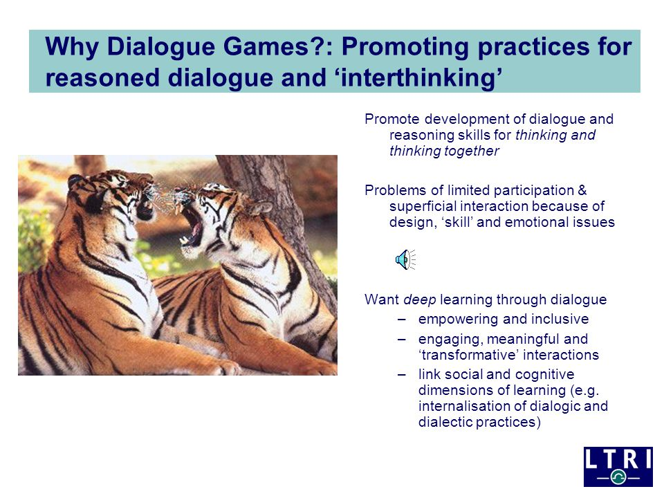 DDGs for thinking conversations Scaffold particular forms of dialogue (e.g.