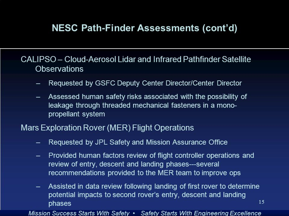 Mission Success Starts With Safety Safety Starts With Engineering Excellence 15 NESC Path-Finder Assessments (cont'd) CALIPSO – Cloud-Aerosol Lidar and Infrared Pathfinder Satellite Observations –Requested by GSFC Deputy Center Director/Center Director –Assessed human safety risks associated with the possibility of leakage through threaded mechanical fasteners in a mono- propellant system Mars Exploration Rover (MER) Flight Operations –Requested by JPL Safety and Mission Assurance Office –Provided human factors review of flight controller operations and review of entry, descent and landing phases---several recommendations provided to the MER team to improve ops –Assisted in data review following landing of first rover to determine potential impacts to second rover's entry, descent and landing phases