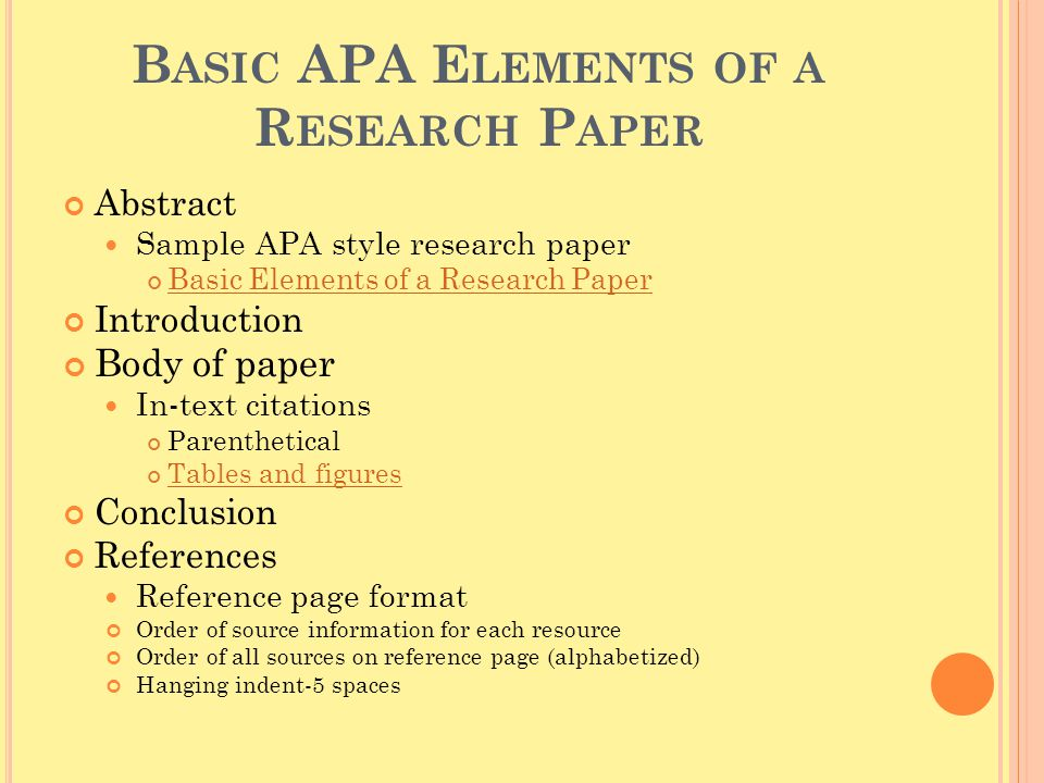 Writing a Paper in APA Style - My Illinois State