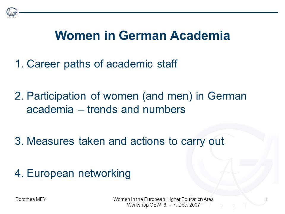 Dorothea MEYWomen in the European Higher Education Area Workshop GEW 6. – 7. Dec. 2007 1 Women in German Academia 1.Career paths of academic staff 2.P