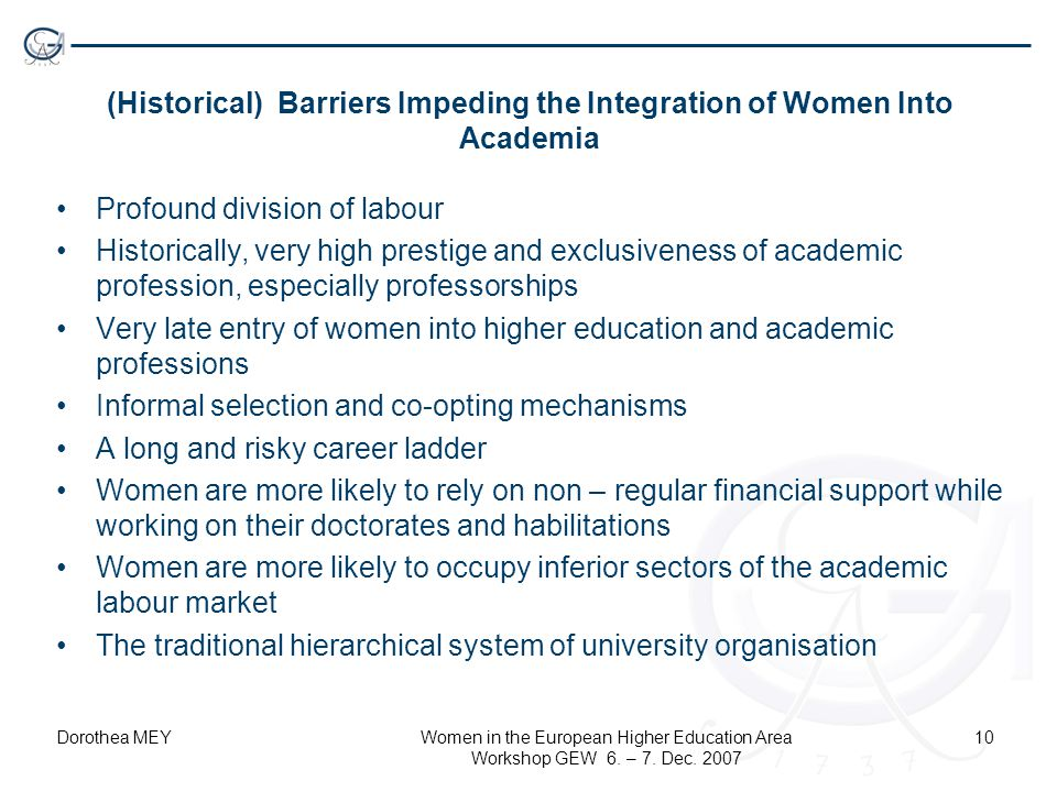 Dorothea MEYWomen in the European Higher Education Area Workshop GEW 6. – 7. Dec. 2007 10 (Historical) Barriers Impeding the Integration of Women Into