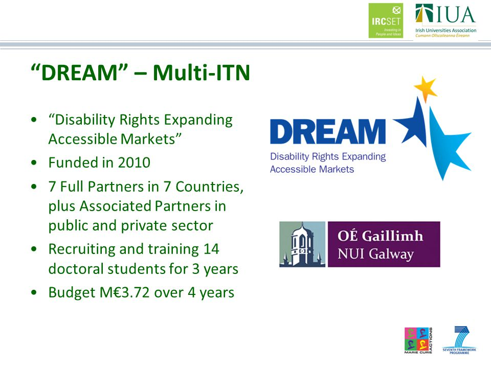 Disability Rights Expanding Accessible Markets Funded in 2010 7 Full Partners in 7 Countries, plus Associated Partners in public and private sector Recruiting and training 14 doctoral students for 3 years Budget M€3.72 over 4 years DREAM – Multi-ITN