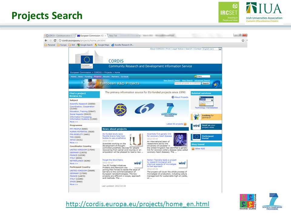 Projects Search http://cordis.europa.eu/projects/home_en.html