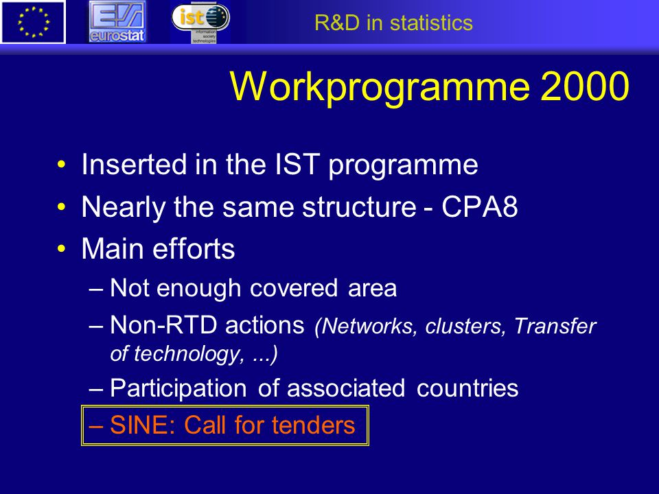 R&D in statistics Workprogramme 2000 Inserted in the IST programme Nearly the same structure - CPA8 Main efforts –Not enough covered area –Non-RTD act