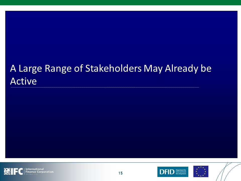 15 A Large Range of Stakeholders May Already be Active