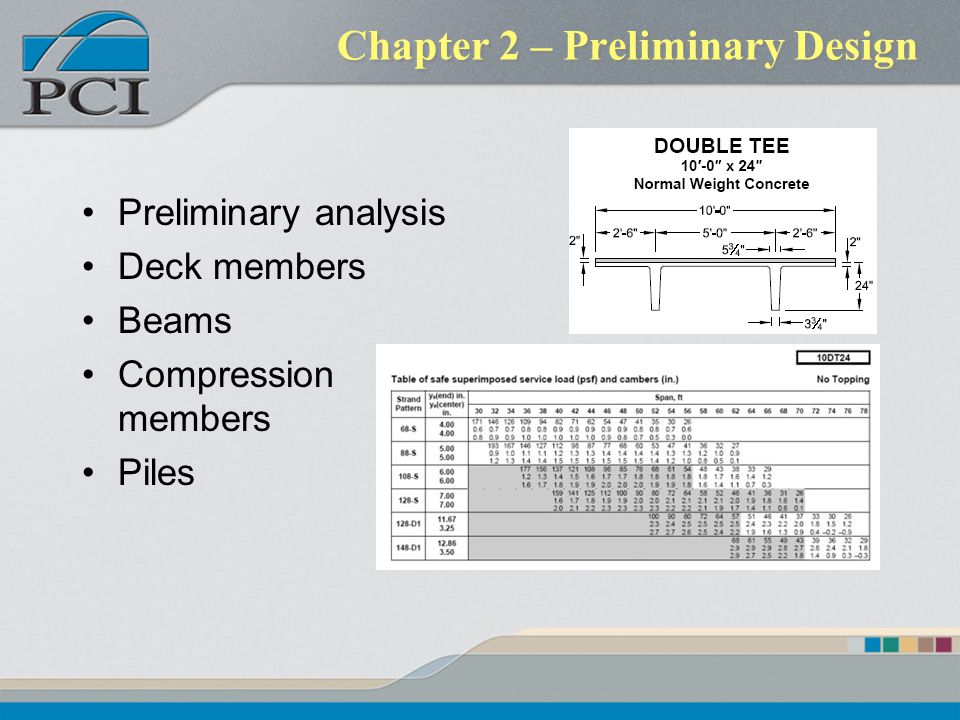 Chapter 2 – Preliminary Design Preliminary analysis Deck members Beams Compression members Piles