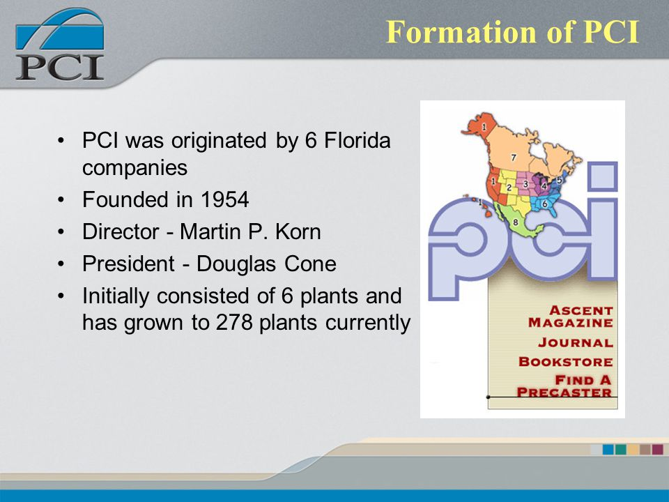 Formation of PCI PCI was originated by 6 Florida companies Founded in 1954 Director - Martin P.
