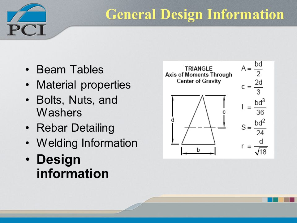 General Design Information Beam Tables Material properties Bolts, Nuts, and Washers Rebar Detailing Welding Information Design information