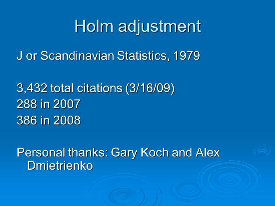 Holm adjustment J or Scandinavian Statistics, 1979 3,432 total citations (3/16/09) 288 in 2007 386 in 2008 Personal thanks: Gary Koch and Alex Dmietrienko