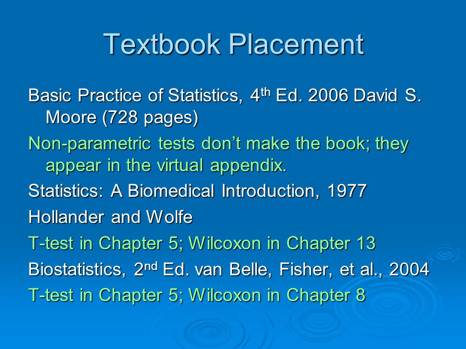Textbook Placement Basic Practice of Statistics, 4 th Ed.