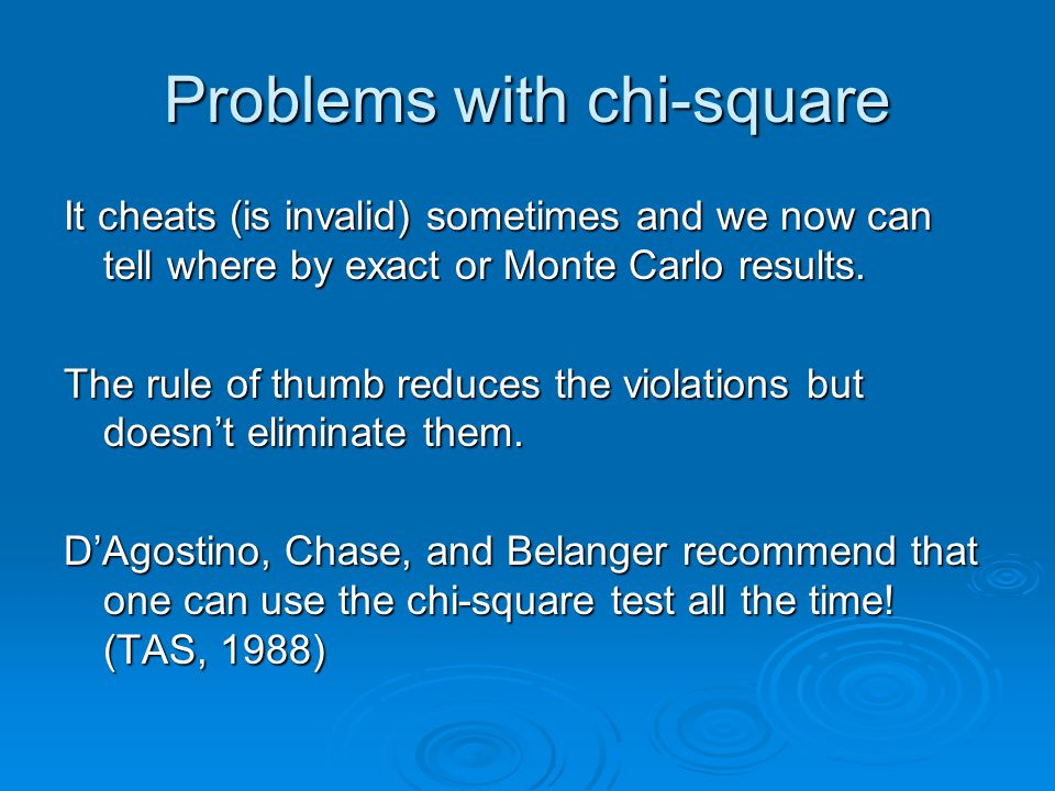 Problems with chi-square It cheats (is invalid) sometimes and we now can tell where by exact or Monte Carlo results.