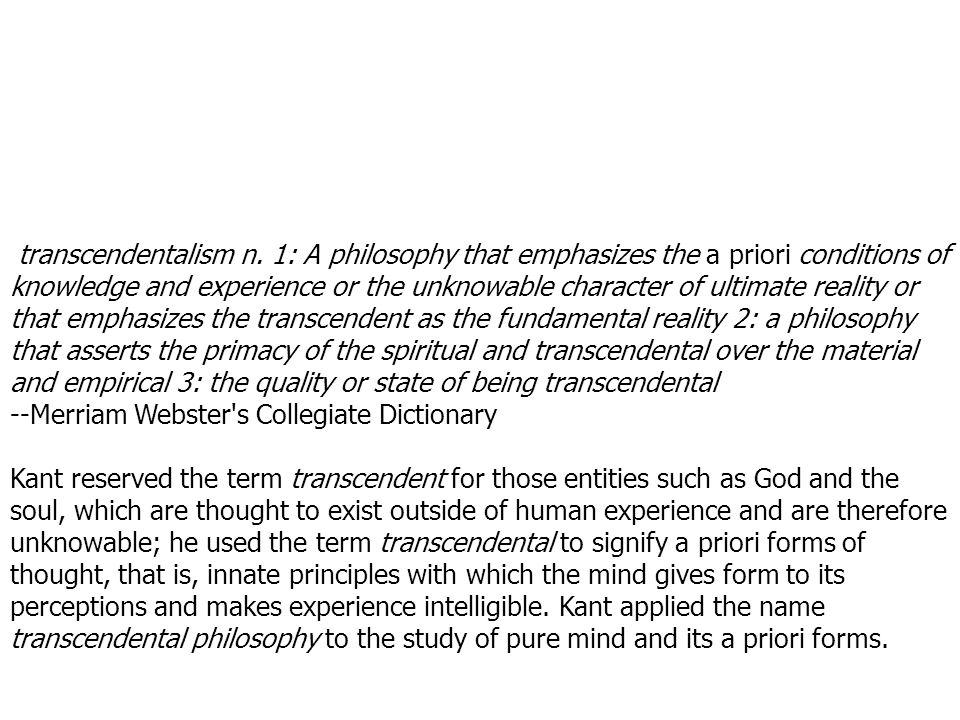 transcendentalism n.