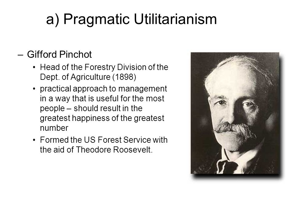 a) Pragmatic Utilitarianism –Gifford Pinchot Head of the Forestry Division of the Dept.