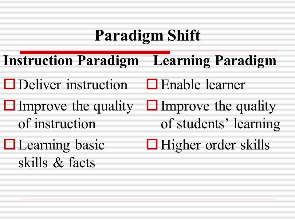 Paradigm Shift Instruction Paradigm  Deliver instruction  Improve the quality of instruction  Learning basic skills & facts Learning Paradigm  Enable learner  Improve the quality of students' learning  Higher order skills