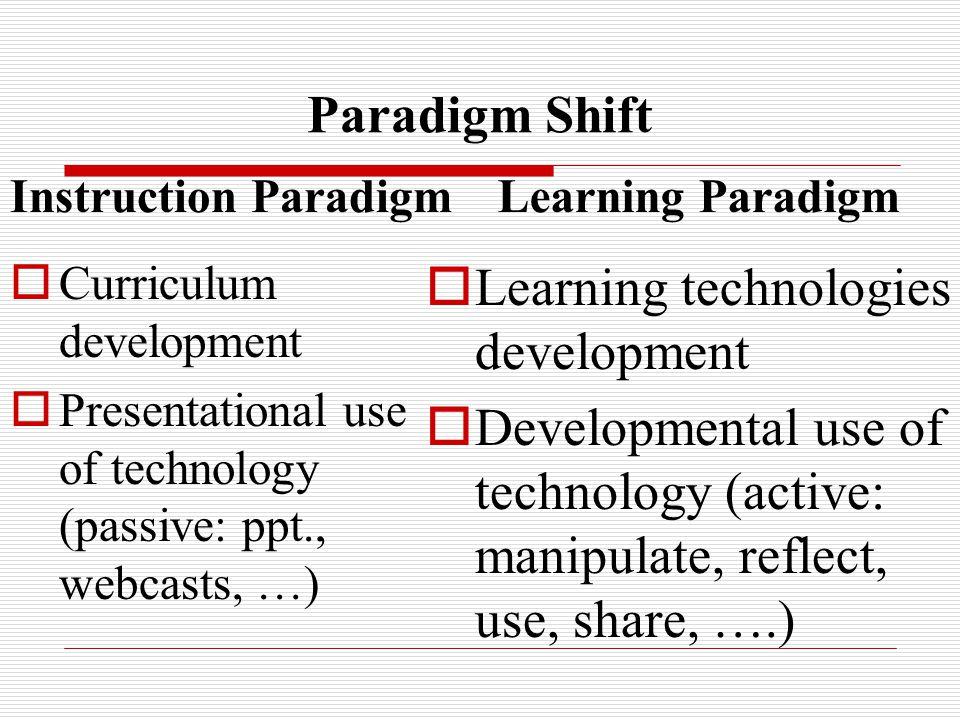 Paradigm Shift Instruction Paradigm  Curriculum development  Presentational use of technology (passive: ppt., webcasts, …) Learning Paradigm  Learning technologies development  Developmental use of technology (active: manipulate, reflect, use, share, ….)