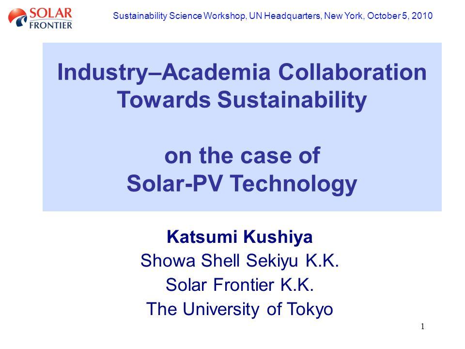 1 Katsumi Kushiya Showa Shell Sekiyu K.K. Solar Frontier K.K.
