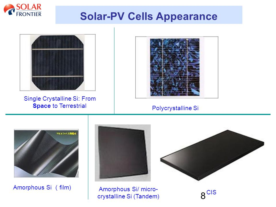 8 Solar-PV Cells Appearance Single Crystalline Si: From Space to Terrestrial Polycrystalline Si Amorphous Si ( film) Amorphous Si/ micro- crystalline Si (Tandem) CIS