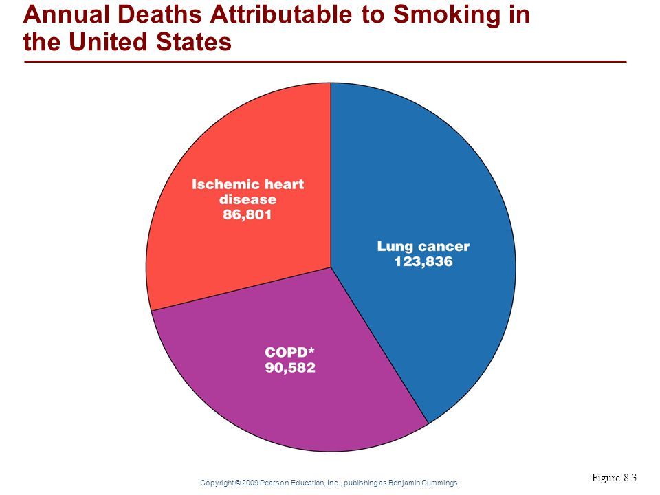 Copyright © 2009 Pearson Education, Inc., publishing as Benjamin Cummings. Figure 8.3 Annual Deaths Attributable to Smoking in the United States