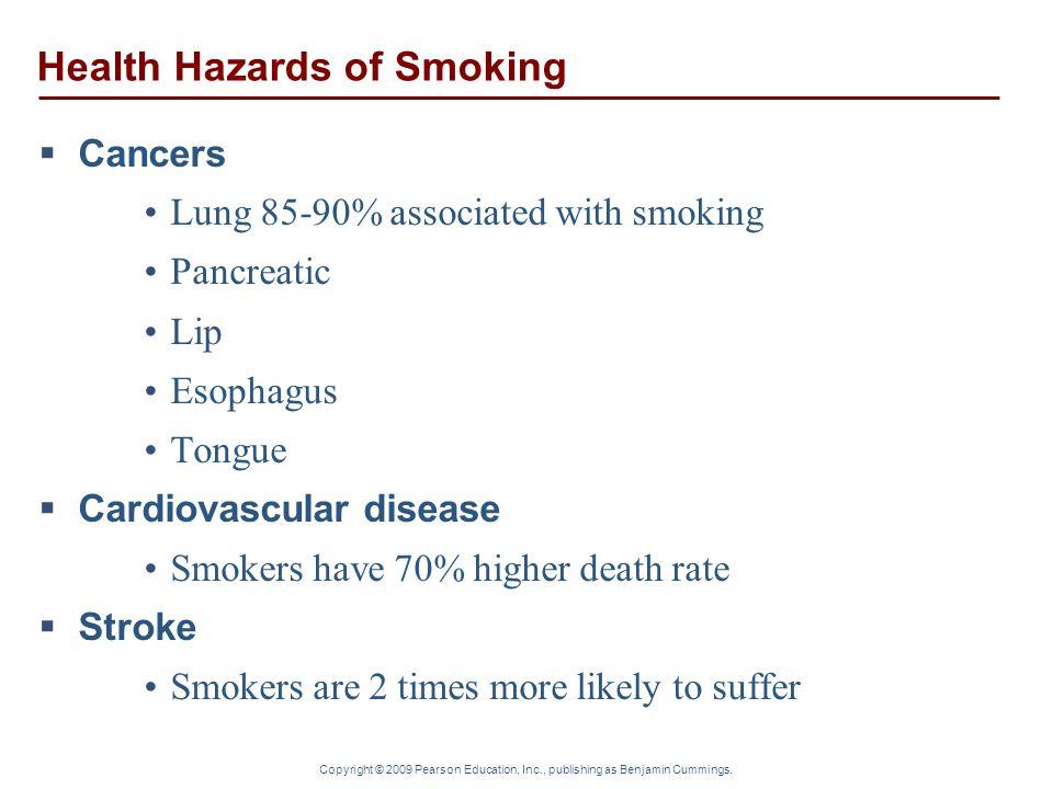 Copyright © 2009 Pearson Education, Inc., publishing as Benjamin Cummings. Health Hazards of Smoking  Cancers Lung 85-90% associated with smoking Pan