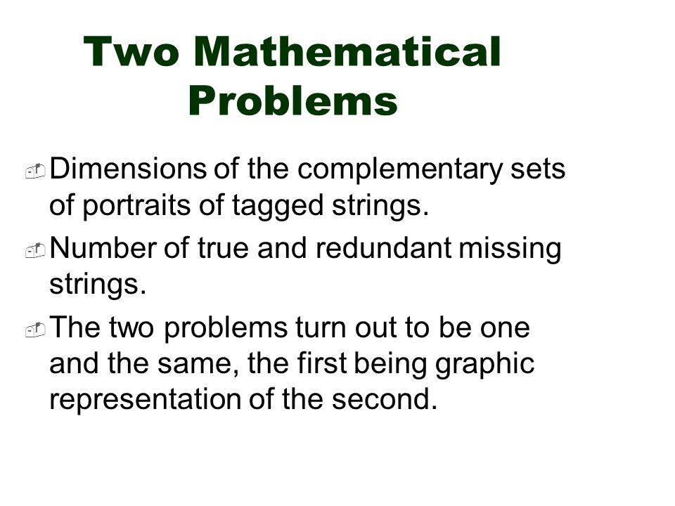Two Mathematical Problems  Dimensions of the complementary sets of portraits of tagged strings.