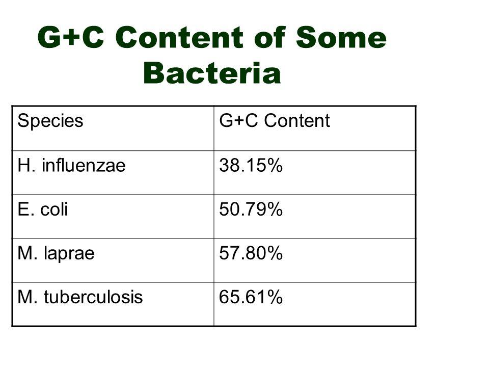 G+C Content of Some Bacteria SpeciesG+C Content H.