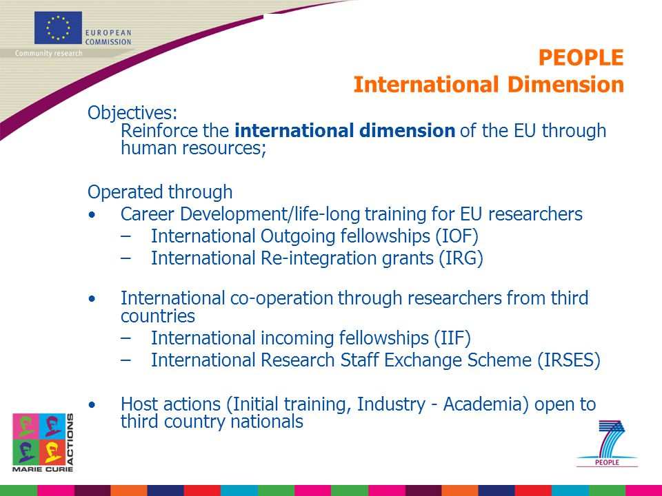 PEOPLE International Dimension Objectives: Reinforce the international dimension of the EU through human resources; Operated through Career Developmen